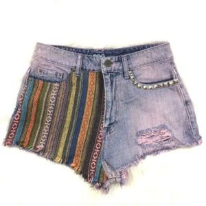 BDG High Rise Dree Cheeky Aztec Boho Jean Shorts